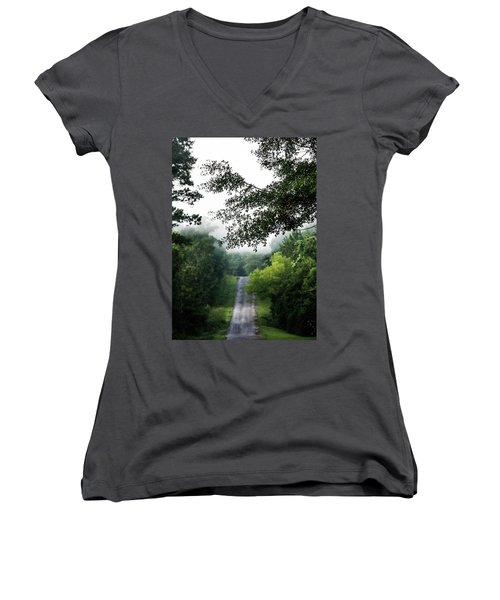 Women's V-Neck T-Shirt (Junior Cut) featuring the photograph Foggy Road To Eternity  by Shelby Young