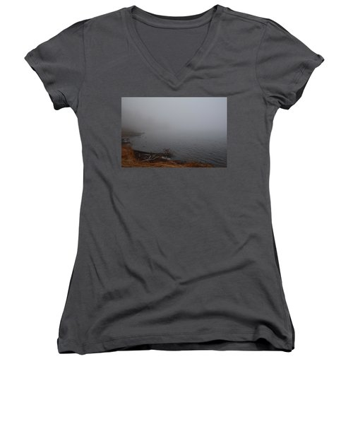 Women's V-Neck T-Shirt (Junior Cut) featuring the photograph Foggy Shore by Jenessa Rahn