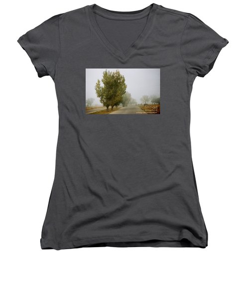 Foggy Trees Women's V-Neck (Athletic Fit)