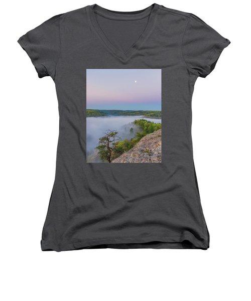 Foggy Valley Women's V-Neck T-Shirt (Junior Cut) by Ulrich Burkhalter