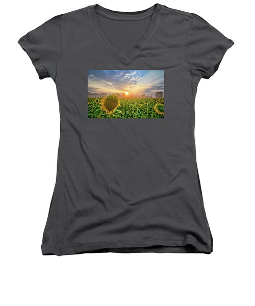 Foggy Yellow Fields Women's V-Neck T-Shirt