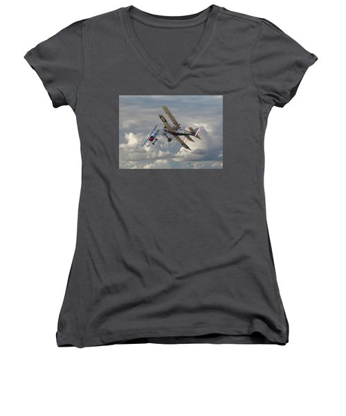 Women's V-Neck T-Shirt (Junior Cut) featuring the digital art Fokker Dvll And Se5 Head To Head by Pat Speirs