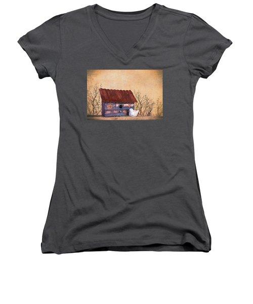 Women's V-Neck T-Shirt (Junior Cut) featuring the photograph Folk Art Birdhouse Still Life by Tom Mc Nemar