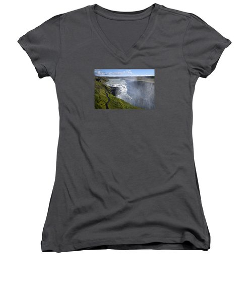Follow Life's Path Women's V-Neck T-Shirt (Junior Cut) by Lucinda Walter