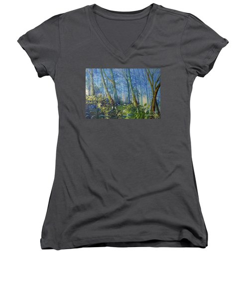 Follow Me Oil Painting Of A Magic Forest Women's V-Neck T-Shirt