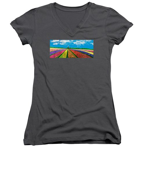 Follow The Rainbow Women's V-Neck T-Shirt (Junior Cut) by Belinda Low
