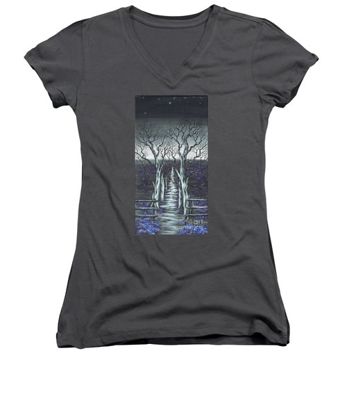 Women's V-Neck T-Shirt (Junior Cut) featuring the painting Follow The Stars by Kenneth Clarke