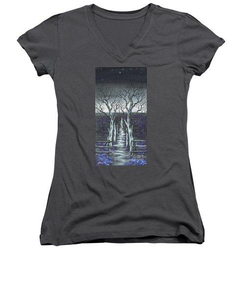 Follow The Stars Women's V-Neck T-Shirt (Junior Cut) by Kenneth Clarke