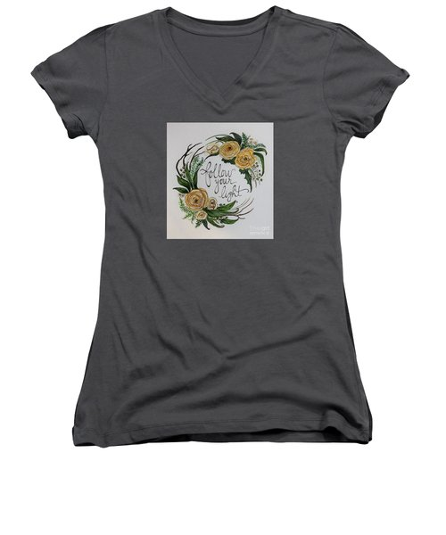 Women's V-Neck T-Shirt (Junior Cut) featuring the painting Follow Your Light by Elizabeth Robinette Tyndall