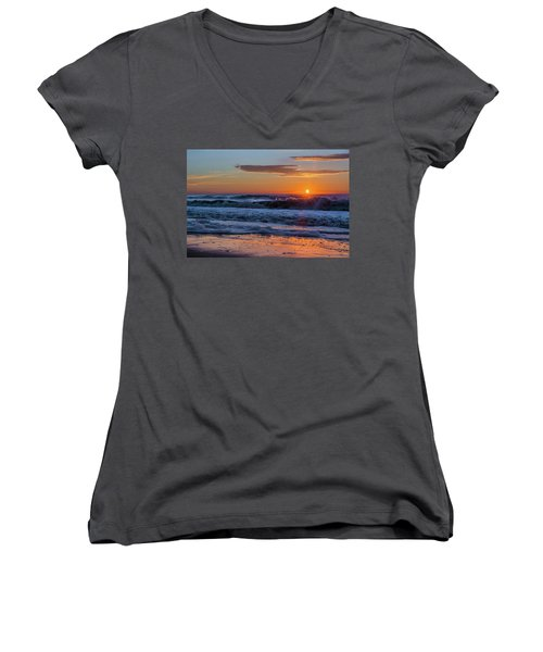 Women's V-Neck T-Shirt (Junior Cut) featuring the photograph Folly Beach Sunrise by RC Pics