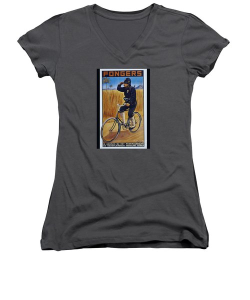 Fongers In Gebruik Bil Nederlandsche En Nederlndsch Indische Leger Vintage Cycle Poster Women's V-Neck T-Shirt (Junior Cut) by R Muirhead Art