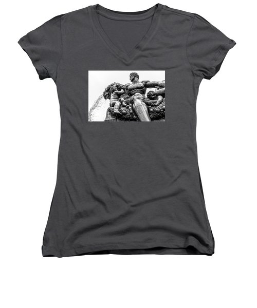 Women's V-Neck T-Shirt (Junior Cut) featuring the photograph Fontana Di Piazza Solferino-1 by Sonny Marcyan