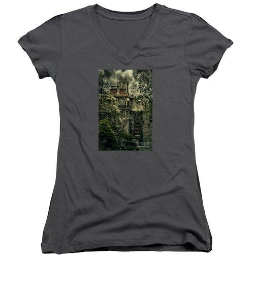 Fonthill With Storm Clouds Women's V-Neck T-Shirt (Junior Cut) by Debra Fedchin