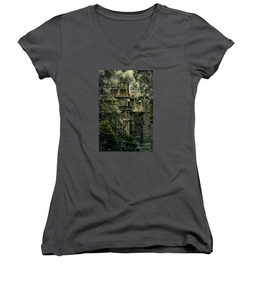 Fonthill With Storm Clouds Women's V-Neck T-Shirt (Junior Cut)