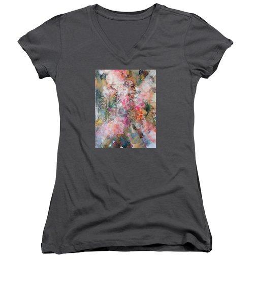 Footprints Women's V-Neck T-Shirt (Junior Cut) by Becky Chappell