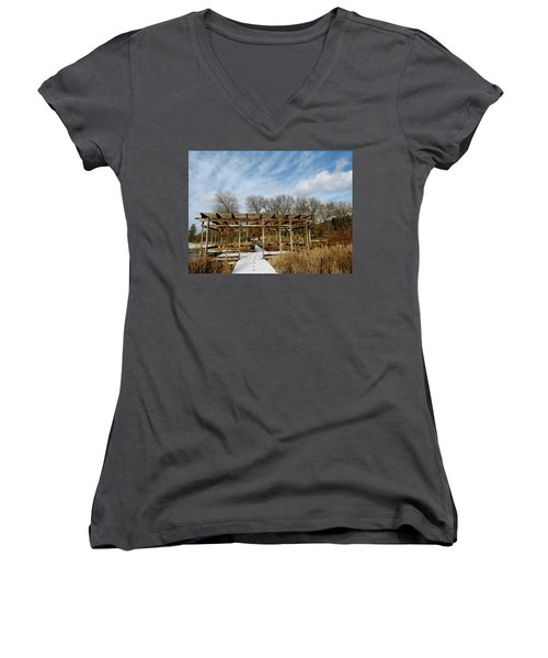 Footprints In The Snow Women's V-Neck (Athletic Fit)