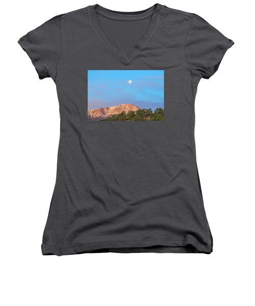 For God So Loved The World That He Created Mountains.  Women's V-Neck (Athletic Fit)