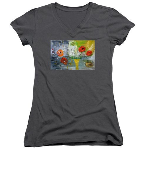 Women's V-Neck T-Shirt (Junior Cut) featuring the photograph For Mom by Evelina Popilian