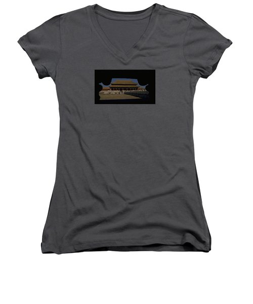 Forbidden City, Beijing Women's V-Neck T-Shirt (Junior Cut) by Travel Pics