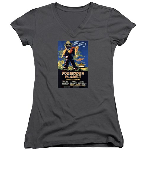 Forbidden Planet Amazing Poster Women's V-Neck (Athletic Fit)