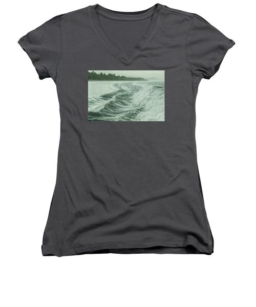 Forces Of The Ocean Women's V-Neck T-Shirt (Junior Cut) by Iris Greenwell