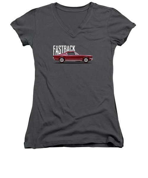 Ford Mustang Fastback 1965 Women's V-Neck (Athletic Fit)