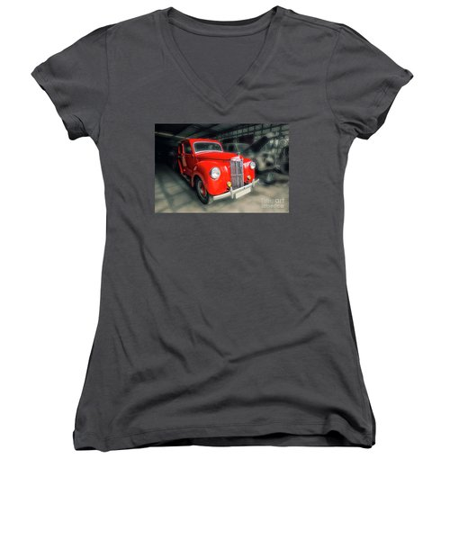 Women's V-Neck T-Shirt (Junior Cut) featuring the photograph Ford Prefect by Charuhas Images