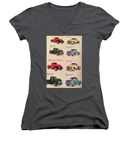 Ford Truck Stamps Women's V-Neck T-Shirt (Junior Cut) by Caroline Stella