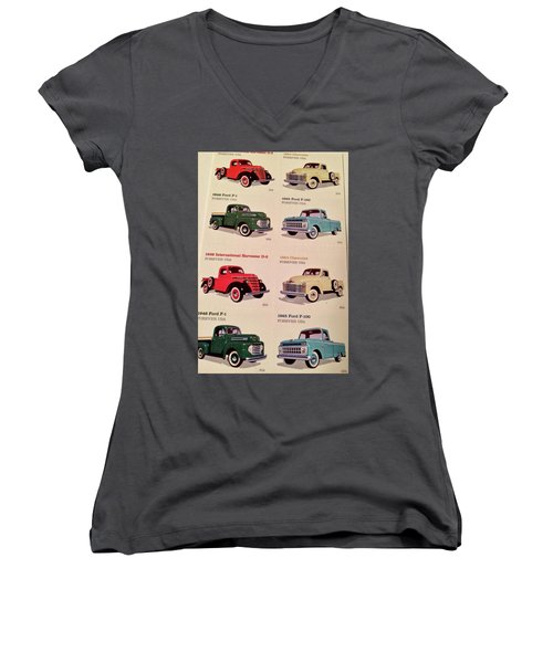 Ford Truck Stamps Women's V-Neck (Athletic Fit)