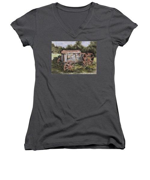 Fordson Model F Women's V-Neck T-Shirt (Junior Cut) by Sam Sidders