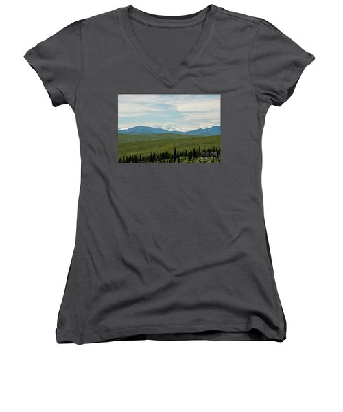 Foreground And Mountain Women's V-Neck T-Shirt