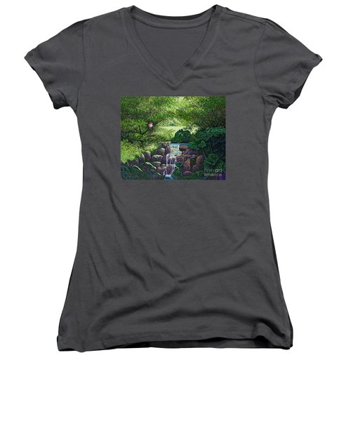 Women's V-Neck T-Shirt (Junior Cut) featuring the painting Forest Brook Iv by Michael Frank