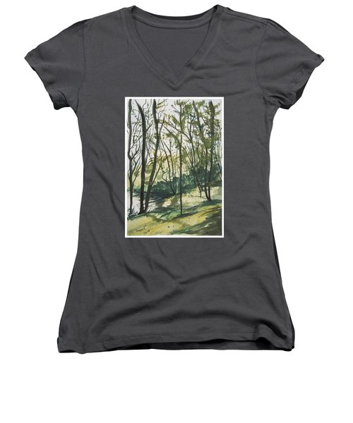 Women's V-Neck T-Shirt (Junior Cut) featuring the painting Forest By The Lake by Manuela Constantin
