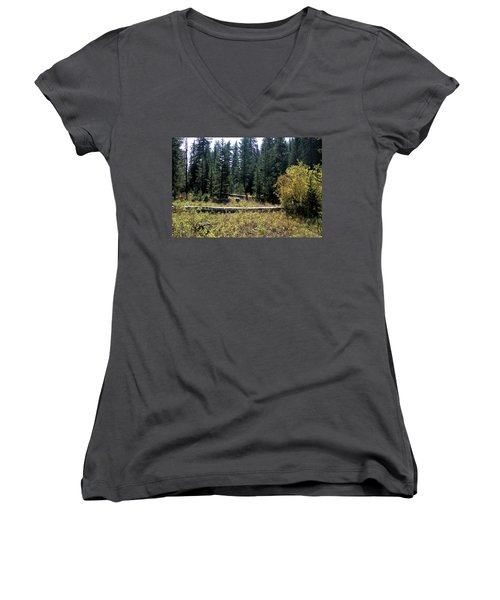 Forest Clearing Women's V-Neck (Athletic Fit)