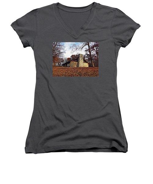 Forest Field House 3 Women's V-Neck T-Shirt (Junior Cut) by Cedric Hampton