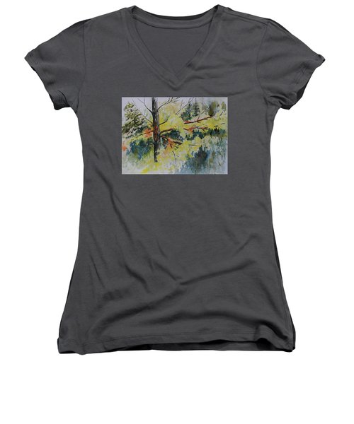 Women's V-Neck T-Shirt (Junior Cut) featuring the painting Forest Giant by Joanne Smoley