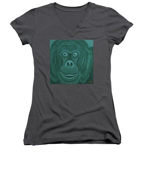 Forest Green Orangutan Women's V-Neck (Athletic Fit)
