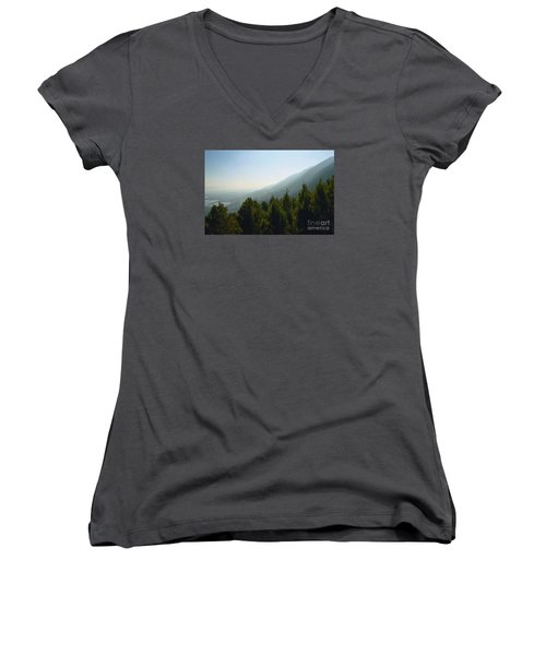 Forest In Israel Women's V-Neck T-Shirt (Junior Cut) by Gail Kent
