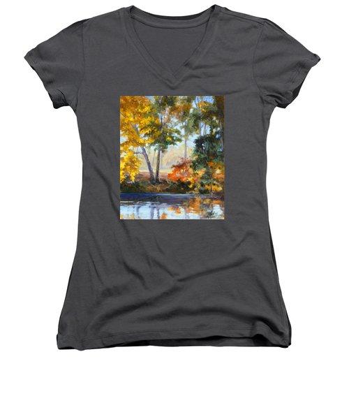Forest Park - Autumn Reflections Women's V-Neck T-Shirt (Junior Cut) by Irek Szelag