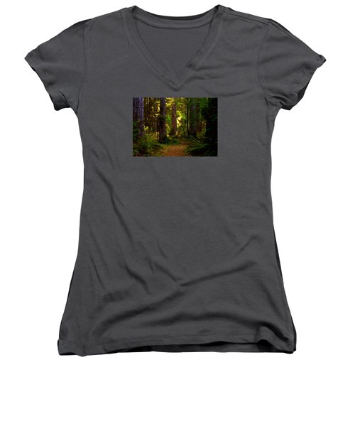 Forest Path Women's V-Neck T-Shirt (Junior Cut) by Lori Seaman