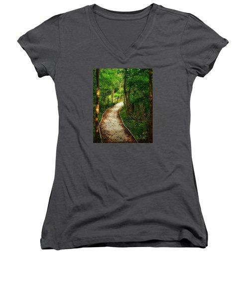 Forest Path Women's V-Neck T-Shirt (Junior Cut) by Nikki McInnes