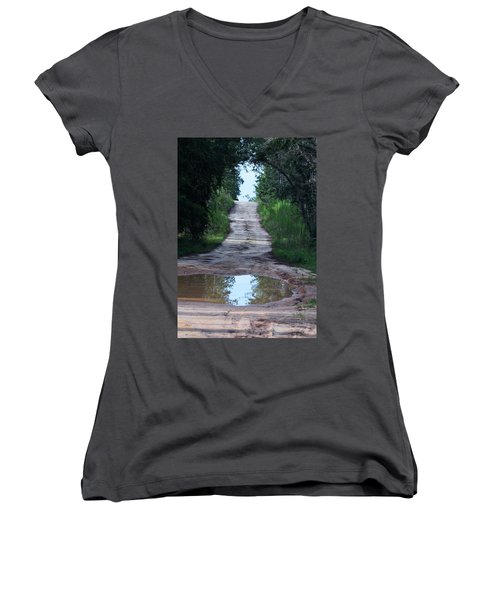 Forest Road And Puddle Women's V-Neck (Athletic Fit)