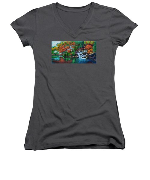 Women's V-Neck T-Shirt (Junior Cut) featuring the painting Forest Stream II by Michael Frank