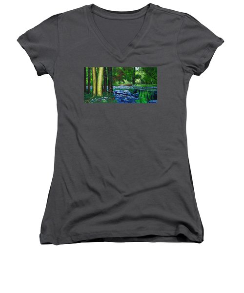 Women's V-Neck T-Shirt (Junior Cut) featuring the painting Forest Stream by Michael Frank