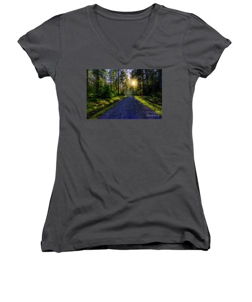 Women's V-Neck T-Shirt (Junior Cut) featuring the photograph Forest Sunlight by Ian Mitchell