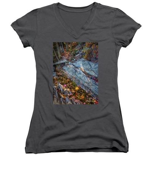 Women's V-Neck T-Shirt (Junior Cut) featuring the photograph Forest Tidal Pool In Granite, Harpswell, Maine  -100436-100438 by John Bald