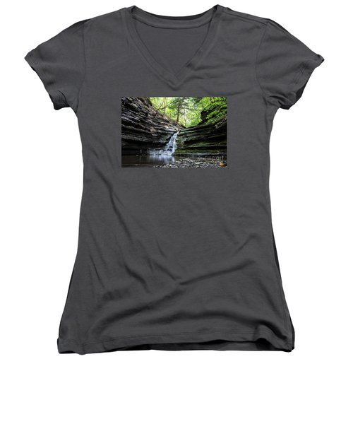 Women's V-Neck T-Shirt (Junior Cut) featuring the photograph Forest Waterfall by MGL Meiklejohn Graphics Licensing