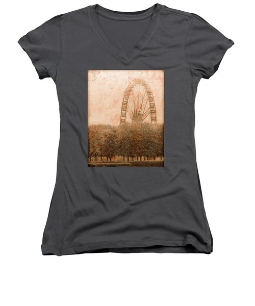 Paris, France - Forest Wheel Women's V-Neck