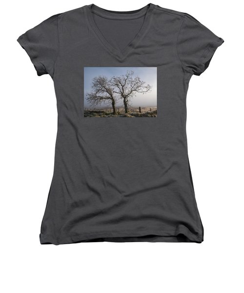 Women's V-Neck T-Shirt featuring the photograph Forever Buddies Facing The Fog by Jeremy Lavender Photography