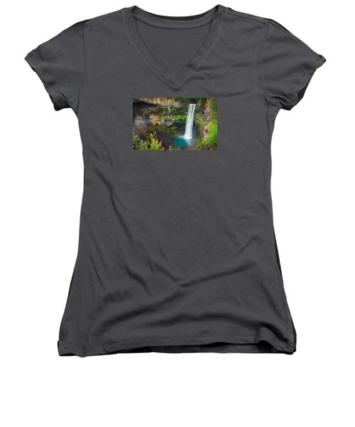 Brandywine Falls, Bc Women's V-Neck T-Shirt (Junior Cut) by Heather Vopni